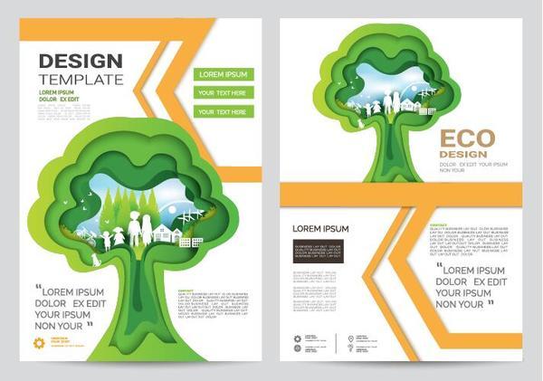 Green business flyer vector template 06