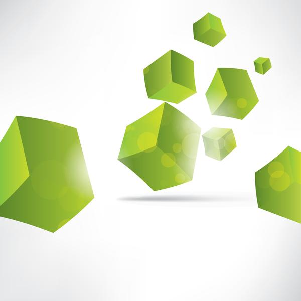 Green cube background illustration vector