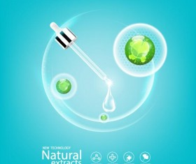 Green leaves with cosmetics poster vector 08