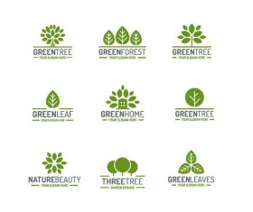 Green tree logos design vector