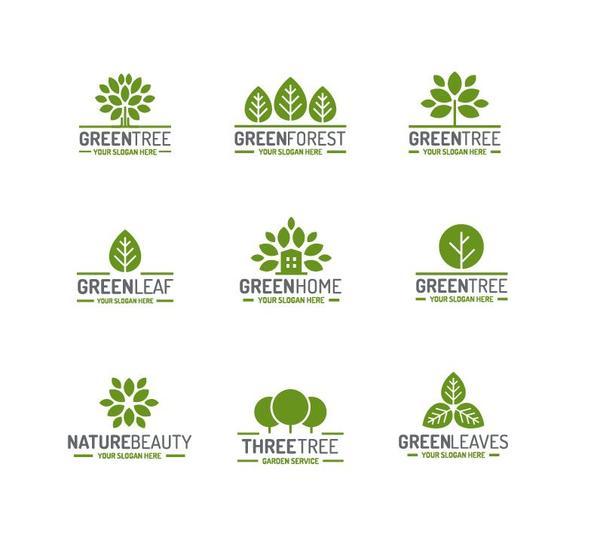 Green tree logos design vector