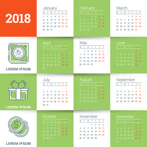 Green with white 2018 calendar template vectors