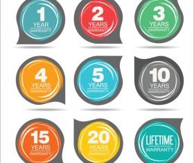 Guarantee stickers modern design vector material