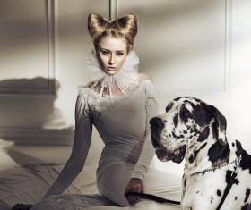 HD picture Beautiful woman with spotted dog
