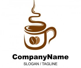Hand drawn coffee logos design vector set 01