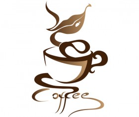 Hand drawn coffee logos design vector set 04