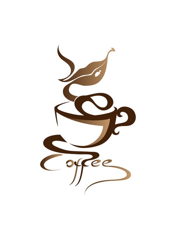 Hand drawn coffee logos design vector set 04