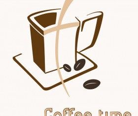 Hand drawn coffee logos design vector set 05