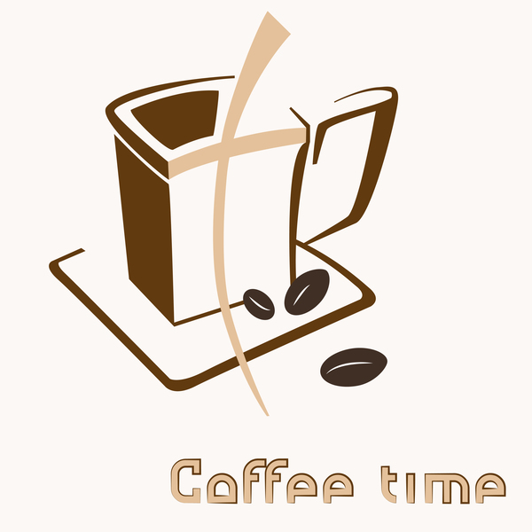 Hand drawn coffee logos design vector set 05