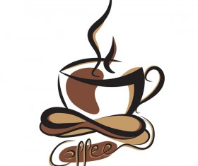 Hand drawn coffee logos design vector set 06