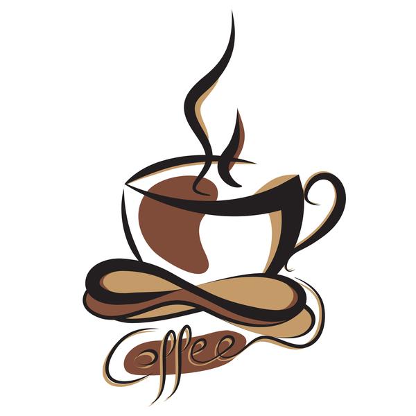 Hand drawn coffee logos design vector set 06
