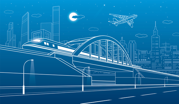 Hand drawn lines city landscape vector material 06