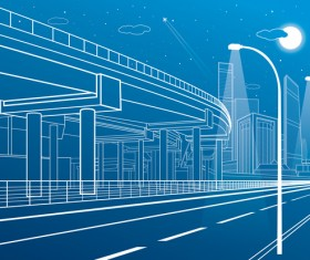 Hand drawn lines city landscape vector material 09