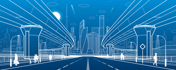 Hand drawn lines city landscape vector material 10