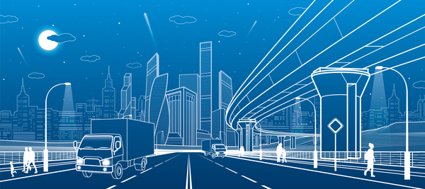 Hand drawn lines city landscape vector material 11