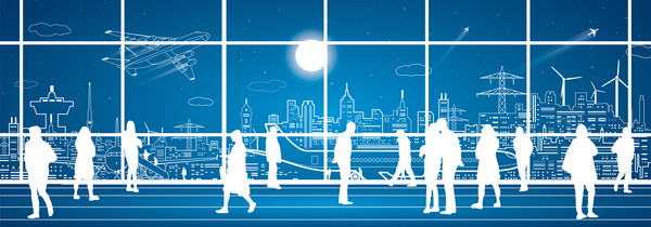 Hand drawn lines city landscape vector material 13