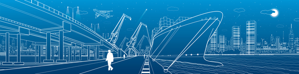 Hand drawn lines city landscape vector material 14