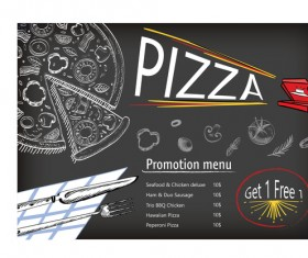 Hand drawn pizza menu with chalkboard vector
