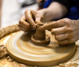 Hand made clay pots Stock Photo 01