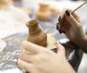 Hand made clay pots Stock Photo 06