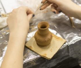 Hand made clay pots Stock Photo 07