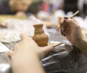 Hand made clay pots Stock Photo 11