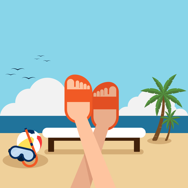 Happy holiday with summer beach vector background