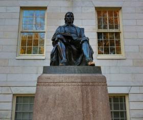 Harvard University Campus Harvard Statue Stock Photo