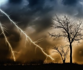 Haze sky lightning Stock Photo 01