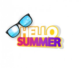 Hello summer logo with sunglasses vector 01