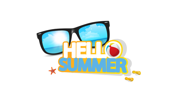 Hello summer logo with sunglasses vector 02