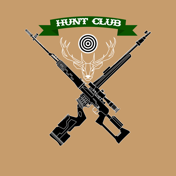 Hunt club logo design vector 02