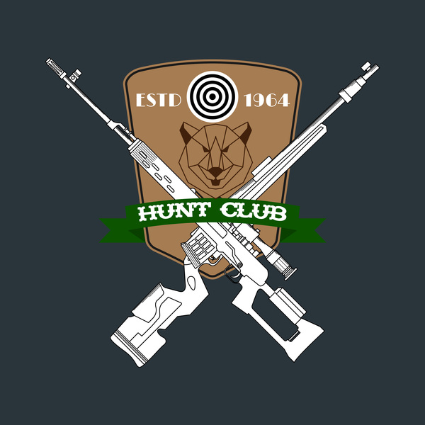 Hunt club logo design vector 03