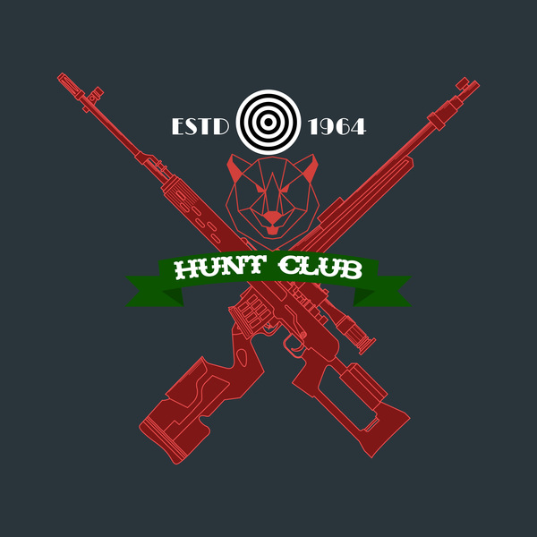Hunt club logo design vector 04