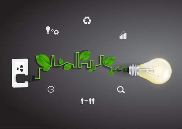 Vector light bulb ecology concept idea
