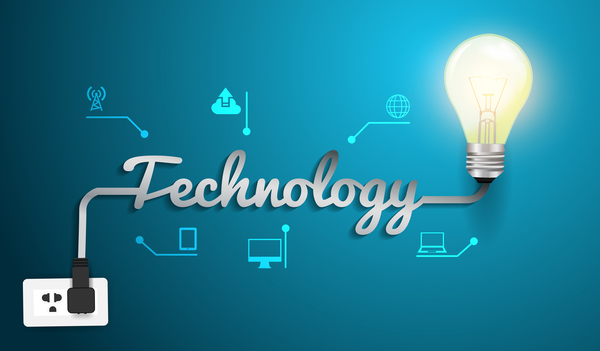 Vector technology concept with creative light bulb idea