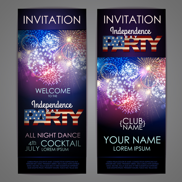 Independence Day party invitation card vector 01