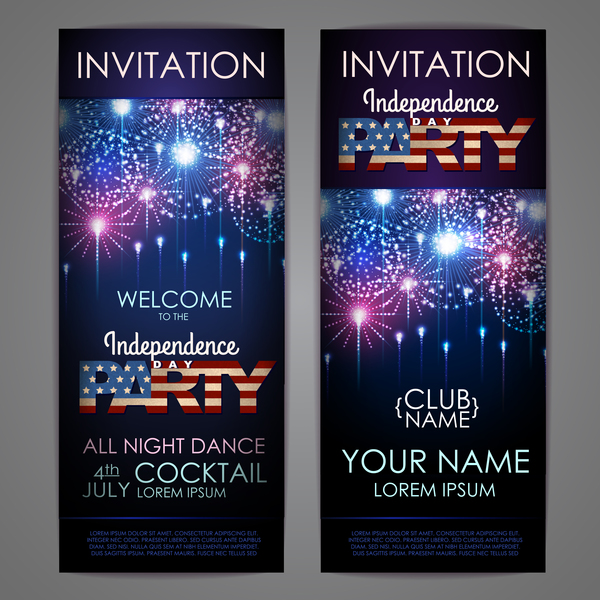 Independence Day party invitation card vector 02