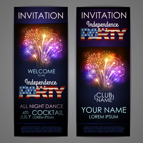 Independence Day party invitation card vector 03