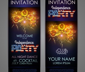 Independence Day party invitation card vector 04