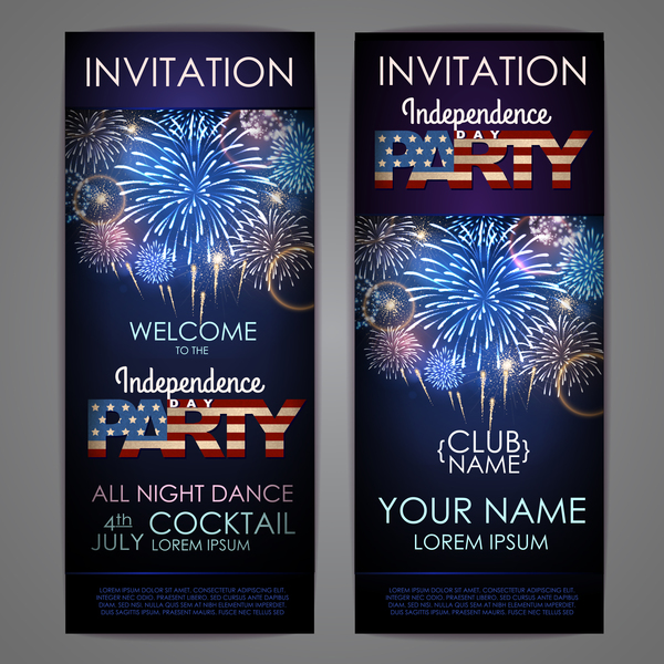 Independence Day party invitation card vector 05