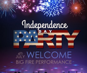 Independence Day party poster with fireworks vector 01