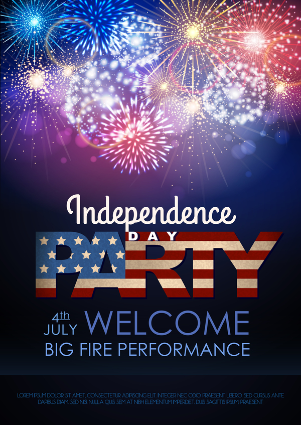 Independence Day party poster with fireworks vector 02