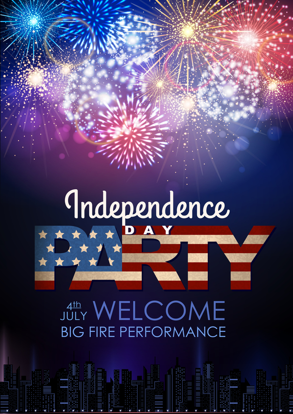 Independence Day party poster with fireworks vector 03