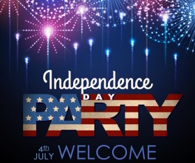 Independence Day party poster with fireworks vector 04