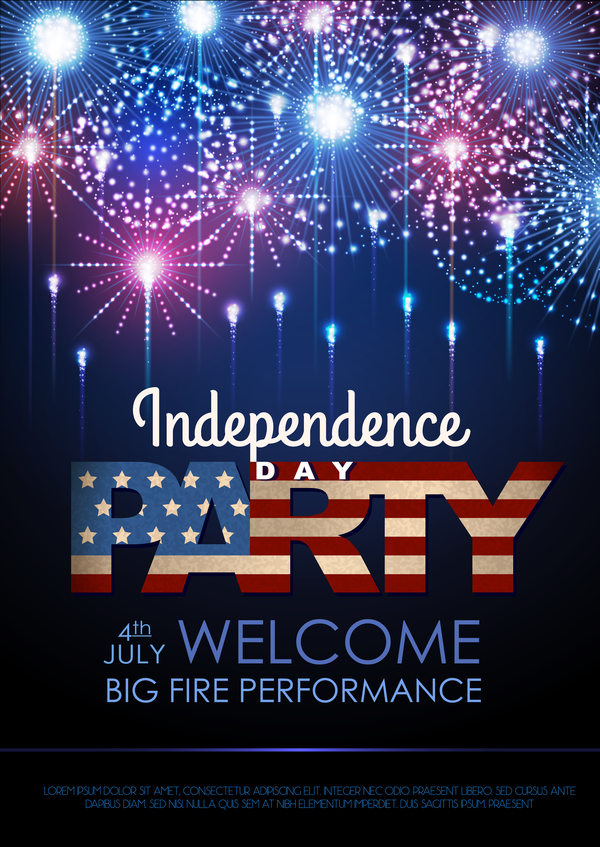 day party poster with holiday firework