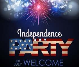 Independence Day party poster with fireworks vector 05