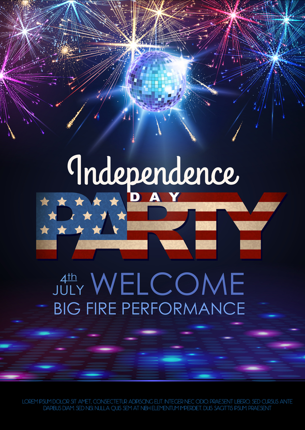 Independence Day party poster with fireworks vector 06