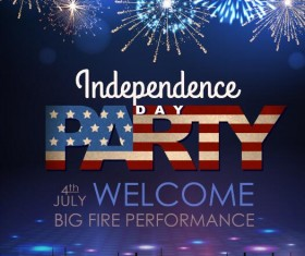 Independence Day party poster with fireworks vector 07