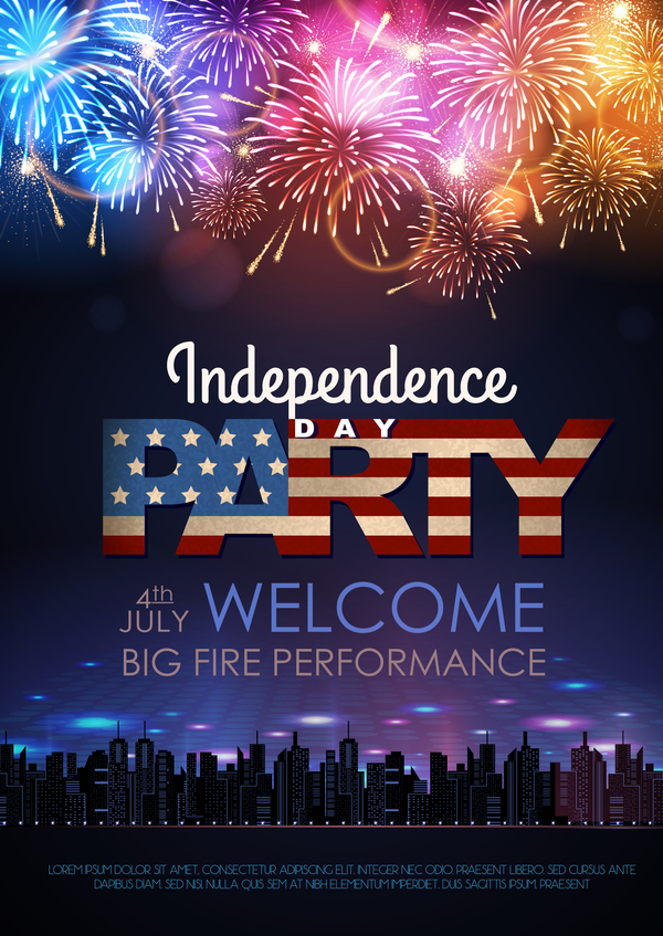 Independence Day party poster with fireworks vector 08